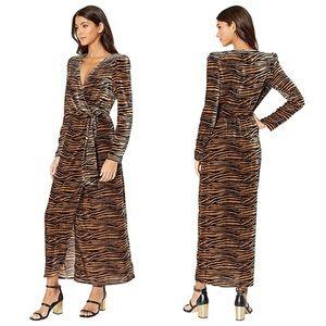 WAYF Arlene 🐅 Tiger Print Velvet Wrap Maxi Dress